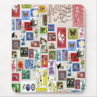 Vintage post card colourful  stamps collection mouse pad