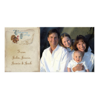Vintage Post Card Illustration Thanksgiving Photos Personalized Photo Card