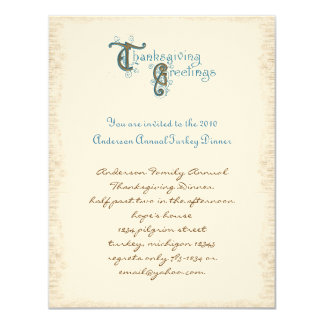 "Vintage Post Card Thanksgiving Harvest Invitations 4.25"" X 5.5"" Invitation Card"