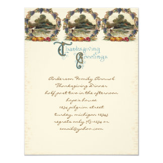 "Vintage Post Card Thanksgiving Turkey Invitations 4.25"" X 5.5"" Invitation Card"