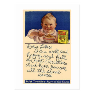 Vintage Post Toasties Cereal Postage Postcard