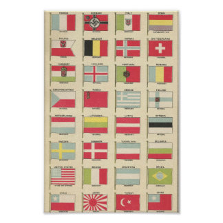 Vintage Postage - Flags of the World 1937 Poster