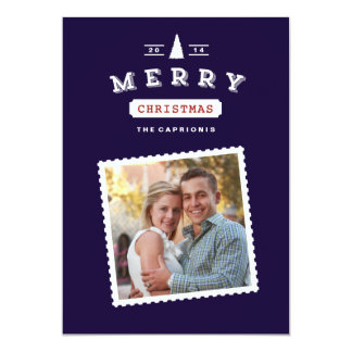 Vintage Postage Stamp Christmas Photo Card 13 Cm X 18 Cm Invitation Card