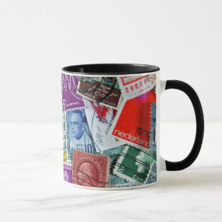 vintage postage stamp collection mug