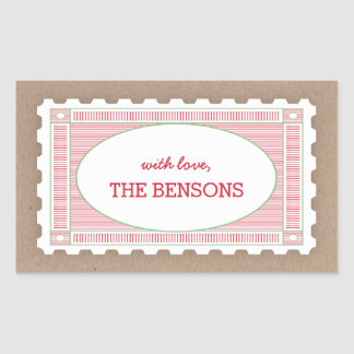 Vintage Postage Stamp Gift Tag Sticker
