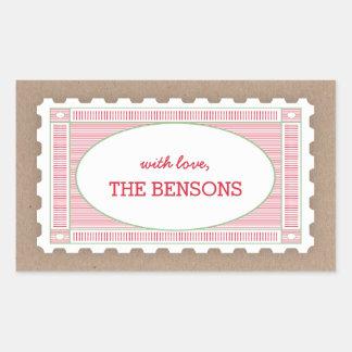 Vintage Postage Stamp Gift Tag Sticker