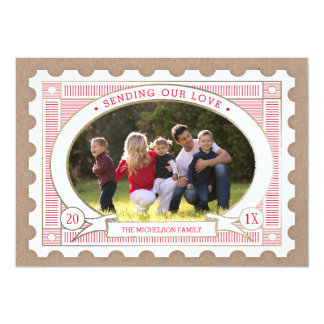 Vintage Postage Stamp Valentine's Photo Card 13 Cm X 18 Cm Invitation Card