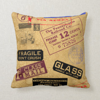 Vintage Postal & Travel  American MoJo Pillow