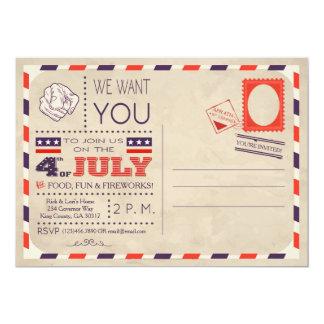 Vintage Postcard 4th of July Invitation