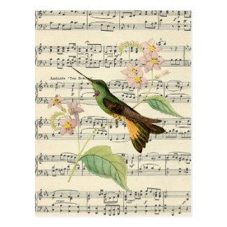 vintage postcard botanical hummingbird music