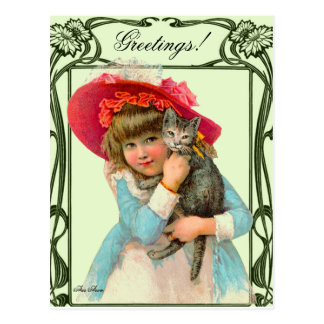 VINTAGE POSTCARD CHILD W RED HAT AND CAT BY ARA