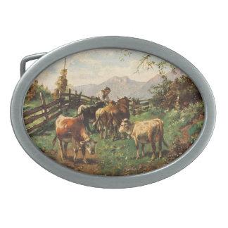 Vintage Postcard, Farmer Herding Cows Oval Belt Buckles