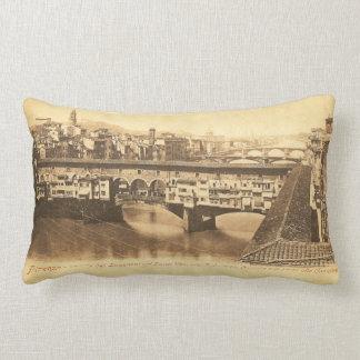Vintage Postcard, Florence, Italy Lumbar Cushion