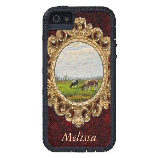 Vintage Postcard, Grazing Cows, Farm iPhone 5 Case