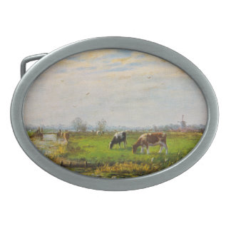Vintage Postcard, Grazing Cows, Farm Oval Belt Buckle