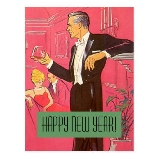 Vintage Postcard Happy New Year Gentleman Toasts