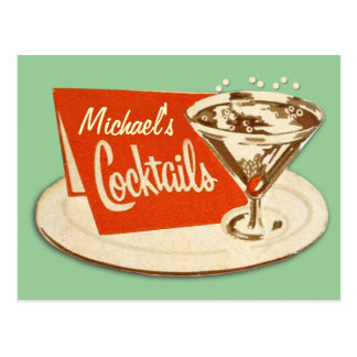 Vintage Postcard - Martini Glass Cocktails