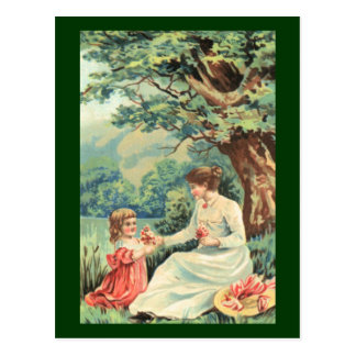 Vintage postcard mother and child