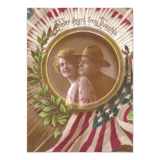 Vintage Postcard:Never Far 14 Cm X 19 Cm Invitation Card