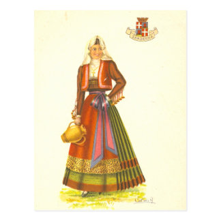 Vintage Postcard of Young Woman from Sardinia