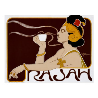 Vintage postcard Rajah coffee