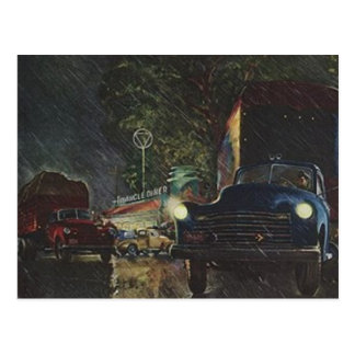 Vintage Postcard Retro Rainy Night Roadside Diner