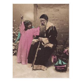 Vintage Postcard Santa Claus Pere Noel & Angel