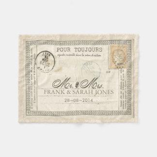 Vintage Postcard Wedding French Fleece Blanket