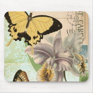 Vintage Postcard with Butterflies and Flowers Mouse Pad