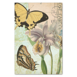 Vintage Postcard with Butterflies and Flowers Tissue Paper