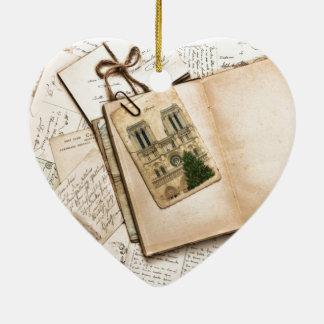 Vintage Postcards & Letters Ceramic Heart Decoration