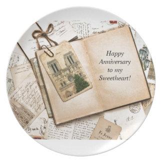 Vintage Postcards & Letters Dinner Plate