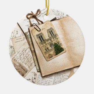 Vintage Postcards & Letters Round Ceramic Decoration