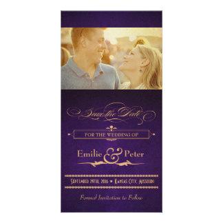 Vintage Poster Aubergine Purple Save the Date Customised Photo Card