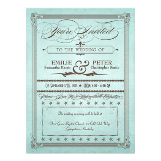 Vintage Poster Blue Brown Wedding Reception Personalized Invitation