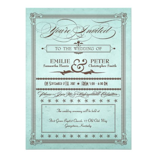 Vintage Poster Blue & Brown Wedding & Reception Personalized Invitation