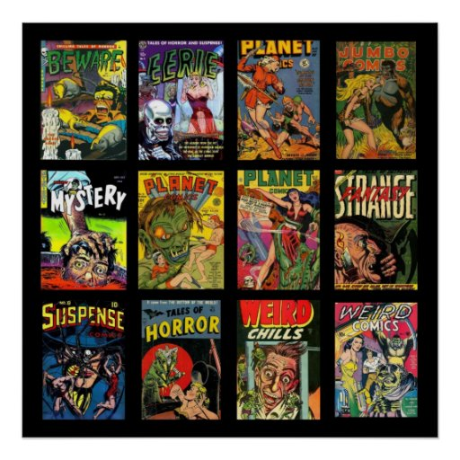 Vintage Poster Comic Book Covers Collage Print