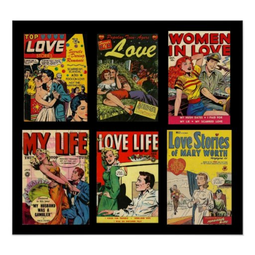 Vintage Poster Comic Book Covers Love Stories Print