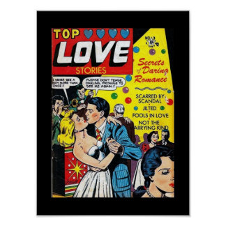 Vintage Poster Comic Book Covers Love Stories