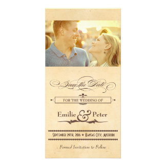 Vintage Poster Cream & Brown Save the Date Personalised Photo Card