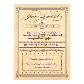 Vintage Poster Cream & Brown Wedding & Reception Invitations