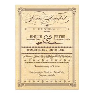 Vintage Poster Cream & Brown Wedding & Reception Personalized Announcement