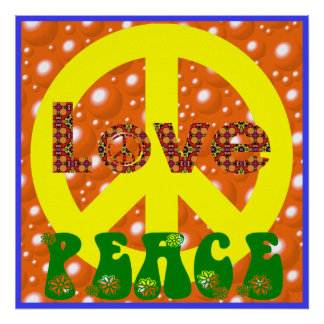 Vintage Poster Love Peace Hippie Peace Sign 60s 70