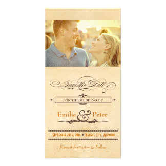 Vintage Poster Orange & Brown Save the Date Photo Card Template