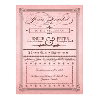 Vintage Poster Pink & Brown Wedding & Reception Invitation