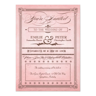 Vintage Poster Pink & Brown Wedding & Reception 6.5x8.75 Paper Invitation Card