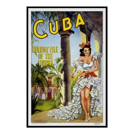 Vintage Poster Print Cuba Holiday Poster