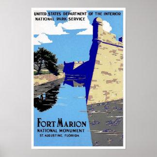 Vintage Poster Print Fort Marion National Park
