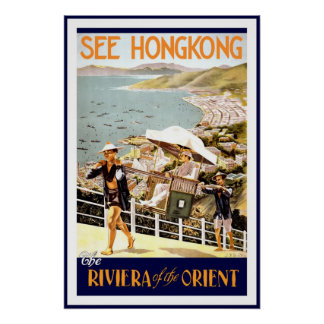 Vintage Poster Print Hong Kong Riviera Orient