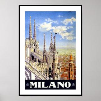 Vintage Poster Print Milano Milan Italy
